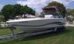 Up for sale is a 1995 Baja 28' center console boat with twin 225 Mercury 3.0L engines with very low hours. Boat has all new electronics GPS, VHF, stereo with amps, 10? woofers, trim trabs, fresh water wash down, has forward cudy that sleeps two, new to,