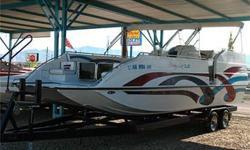 Cat Hull, 385 HP Mercruiser 454 Mag MPI, Through Hull Exhaust, Bravo 3 Dual Prop Drive (2008), SS Props, Dual Bimini Tops w/ Struts, Extended Rear Swim Platform w/ Gated Access & Swim Ladder, Enclosed Head w/ Porta Potty, Port & Starboard Side Boarding