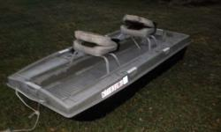 """This is an older 2 man boat. Don't know if you can tell by the pics but the clearcoat has come off in places. I power washed it to get the flaking off but boat is sound. I pre-owned it last Summer a couple of times. It's 8'-7"""" (9 ft?) long and 4 ft wide."""