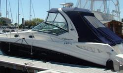 This lightly-used 2006 Sea Ray 340 Sundancer is powered by twin 370 hp inboard 8.1 SHorizon Mercruisers and located in Westbrook, CT.In the water for only 2 seasons, this boat is in pristine condition with only 108 hours onthe engines, which have 8 years