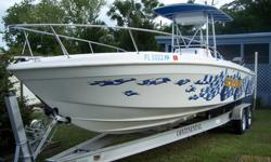 This is a clean 1996 29ft. Scarab. The go-fast style center console is powered by a pair of merc 250's with approx 490hrs.. this boat is in really great shape with plenty of get up and go. The boat has a live well, fish box in transom, console seat and