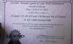 Prize winning certificate for a 186le Legned bass boat including 150 hp Mercury outboard with easy load trailer. For more info see www.legendprizeboat.com Asking $22,000 OBO contact me @ Or (click to respond) Listing originally posted at http