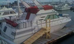 1986 Sea Ray Aft Cabin. Queen size aft cabin, and V berth sleeps 2. Galley kitchen/Dinette, Salon Cabin. 2 heads. Vacuflush system & 3 zone AC. Twin inboard gas engines 900hrs in great shape. Interior needs finish work.As is condition $22.5K
