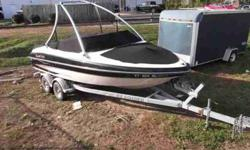 $22,995, VOLVO PENTA I/O 220HP ENGINE W/200 HOURS OF FRESHWATER USE, 2005 EZ LOADER DUAL-AXLE GALVANIZED BUNK TRAILER W/BRAKES, BOW AND COCKPIT COVERS, RATED FOR ten PEOPLE, MONSTER ALUMINUM WAKEBOARD TOWER, 2 TONE GEL COAT, TILTING STEERING, PORT AND