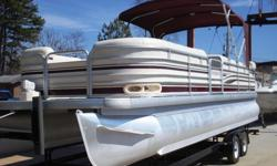 If you are looking for a really nice, BIG pontoon boat that is loaded with cool options and in fantastic condition with very LOW hours, look no further!!! This 2005 26 foot San Pan 2500LE comes with a full vinyl floor with snap in carpet, double driver's