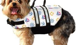 Doggy Life Jacket - NauticalConstructed to provide buoyancy, along with a cozy secure fit, the Paws Aboard Doggy Life Jackets features an advanced breathable mesh underbelly for proper draining and drying, which provides your dog more comfort and