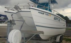 Twin Yamaha 4-stroke 150HP one is 2006 and the other 2007. Outriggers, Downriggers, dual battery chargers, 2 large fishboxes, 2 large livewells, shorepower, rod holders, All Yamaha guages including fuel management and speed, Raymarine GPS Plotter A 70 D,