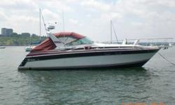 34ft wellcraft. express cruiser. Popular and good-running boat with plenty of living and seating space. Twin 454 inboards(not bad on fuel at 10 knots). In water ready to go. Can be seen off eastern prom white with black and maroon trim. Maroon canvas.