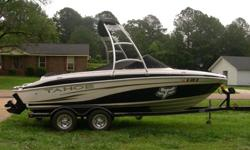 2008 Tahoe Q6, with a Mercruiser V8 (225hp) w/ Tower Black with Blk/White seats and tan carpet One Owner, Seats 9, Dual axle trailer, Snap on Cover, CD player, Bimini Top, Four Blade prop for better pull, storage all over, ski locker in floor, tower
