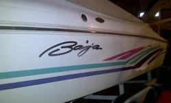 27' Baja with a 2001 Loadmaster Trailer White with Purple, Fucia and Teal trim Swim deck CD player 454 engine Fuel injected Silent Choice exhaust Depth Sounder VHF Marine Radio Dual Switch Batteries 2 stainess props (1extra) Large cabin below Porta Potty