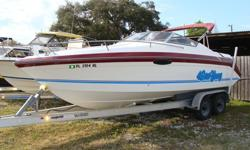 5.0 Mercruiser MPI installed in 2009-has 100 hours. Two large igloos with cushions for the back. Has a full cover, Bimini, 2 props one is stainless, Trailer, Depth recorder, Trim tabs, 5 life preservers, buggie board. Can be seen at Don's Boat Sales in