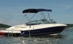 """Blue 2007 Monterey 194FS with factory swim platform and dealer warranty-5.0 liter Volvo with a Volvo outdrive. Low Hours-8'-4"""" beam 21'-8"""" long-Attractive condition-Trailer included with low miles as well-Salt water durable but never put in salt water."""
