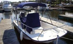 This 2011 Boston Whaler, Montauk 15 center console is located in Wakefield, Rhode Island. Purchased new in the spring of 2011, this boat has very low hours and has been well maintained by her current owner. Powered by a four stroke Mercury 60 HP outboard