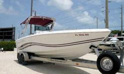 Equipment & Features Twin 225HP Merc's w/560 hrs Radar Arch with new Bimini Top New Coming Pads New Console Cushions Depth Finder Fish Finder Garmin GPS VHS Radio Stereo CD Player with Amp Bolster Seats with flip-down cushions Boat is in great condition!
