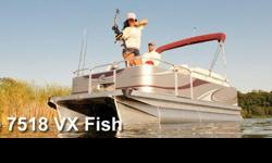 2014 Qwest Adventure 7518 VX Fish Pontoon Boat by Apex Marine *** Sale Price Includes *** * Qwest Adventure Package Upgrade * VX Fishing Package Upgrade with Front and Rear Fishing Stations * Honda 75hp EFI Four Stroke Motor * 12 Gallon Fuel Tank * Float