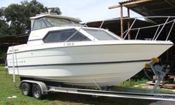 5.7 Mercruiser with Bravo II Drive. New manifolds and Riser Blocks, Raw water pump, and circulating pump, Stainless steel elbows and thermostat housing. Runs great. Magic loader tandem axle aluminum trailer. Full galley with 2 burner stove, fridge, sink.