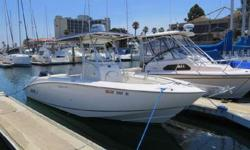 2003 Boston Whaler 240 Outrage for sale in San Diego. Powered by a Mercury/Yamaha F225 4stroke engine with 1,037 hours. Recent electronics include Simrad NSS touchscreen display with GPS/Radar/Fishfinder, Standard Horizon VHF radio, and marine stereo.