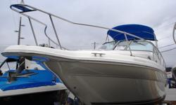 Nice 1997 Searay 270 Sundancer cruiser for sale!!! This boat is in very good condition inside and out and is loaded with all the creature comforts of home including AIR CONDITIONING, microwave, stove, full bathroom, dinette, mid birth cabin, bimini top,