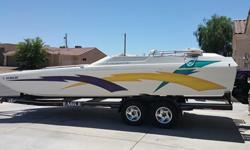25' 1998 Daytona Eliminator For Sale - $30 kOpen Bow - Walk Through ( not crawl under)Fiberglass Hull, Gas Powered, Garage Stored, 383 Stoker,Rebuilt engine Sept 2014 - approx 8 hours on rebuilt engine.The boat comes with a 2004 Eagle Trailer twin axle.