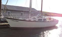 """37' SAILBOAT. 1983 Cooper """"Seabird"""". Cutter rigged. Fiberglass construction. Center cockpit with pedestal steering. Lehman 4 cyl Diesel aux engine. Pilot berth and settee on starboard side with convertible dinette on port. Navigators' station starboard,"""