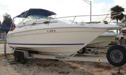 5.7 Mercruiser with Bravo II Drive. Engine just had a complete rebuild to new. Manifolds, Elbows, Riser blocks New. full screen enclosure. Anchor Windlass. Interior and Exterior are excellent. Some Eisenglass. Garmin GPS Map 540S. No trailer. Can be seen