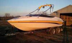 2008 Ebbtide 214 SE BOW RIDER - 22'. Volvo 5.0 GXI MPI 270 hp. Stainless 3-blade prop. 10 passenger capacity with walk through transom. Swim platform with telescoping ladder. Wake board tower with Night lights and (2) Polk chrome can speakers. 6' bimini