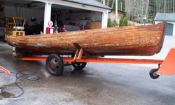 launch with canoe stern or Double ender , has new stem, new stern post, new keel and all new steam bent oak ribs no rot anywhere very unusual find. 26 1/2 ft, 100+ years old has been inside since 1952 (maker unknown) Check out my website for more boats