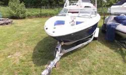 $26,495, MERCRUISER I/O 260HP ENGINE, 2004 SHORELAND'R DUAL-AXLE GALVANIZED BUNK TRAILER W/BRAKES, BIMINI TOP W/BOOT, BOW AND COCKPIT COVER, GENERIC IMAGES OF THIS MODEL FROM THE BROCHURE, TEN PERSON CAPACITY, LOW FRESHWATER HOURS, PORT AND STARBOARD