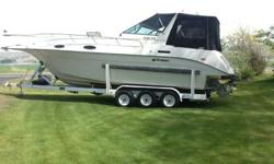 this is a turn key boat with trailer in perfect shape . twin Volvo duel prop serviced and ready for the summer