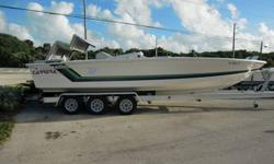 Less than 50 total hours on engines,full Gaffrig Gauge setup Kiekaffer Tabs, All new upholstery and Canvas cover, Mercruiser Bravo One out Drives W/26 degree race props Tri Axel Fastload Trailer. Twin 350CID 525HP/530LBS torque each, using 93 octaine @28