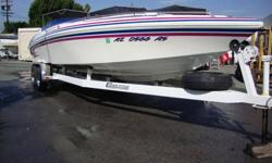 Great Value ! 1996 Eliminator Eagle 250 XP.Powered by a Mercruiser 454 big block with Bravo outdrive.Tandem axle dual axle trailer included. The boat has a left hand helm,Full set of guages,powder coated gauge bezels,bolster type captain chairs. Custom