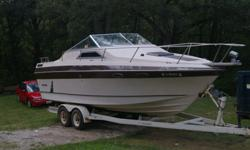 26 FT invader cabin cruiser, I/O motor, runs great , winterized and stored in Marina last 2 years. Galley kitchen, sleeping area and bath in cabin. I have the Bimini top and cover for the boat.. Moving, only reason I am selling. Serious Inquiries only .