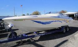 V28 Powerboat w/ 502MPI and Pro Charger End of Season Liquidation Sale 502mpi Mercruiser, Pro Charger, Custom Windshield, Dual Batteries w/switch, Electric Engine Hatch, Stainless Steel four Blade Propeller, Cabin with head, drain-only sink, couches and