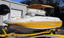 Capable of propelling 12 passengers safely across fresh water or salt water, this powerful 2010 Tahoe 225i deck boat sports a 220hp Mercury MerCruiser 5.0L V8 Engine and Bravo® Sterndrive transmission with DVD-based operation manual. Crafted with