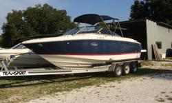 300HP Volvo MPI with duo Prop-225 hours, Full Toneau cover, Bimini, GPS Plotter Garmin 441S, AM/FM Kenwood Stereo CD with remote control, , Depth Guage, trim tabs, enclosed head with holding tank, Frig on deck, electric engine hatch, Shower on swim