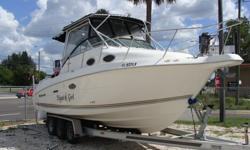 Twin 200HP Johnsons-Carbureted, 5KW Kohler Generator with sound shield, AC, Full galley, stove frig, microwave, freshwater sink, vacu-flush head and holding tank, v-birth forward, Queen berth midship, clarion stereo, CD/AM/FM, trim tabs, anchor windlass,