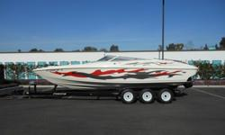 1996 Scarab-Great boat, new interior by Designer Marine Interiors-Custom open bow, seats 10 comfortably. Drive upgraded to Mercruiser Bravo XR with stainless steel prop, engine is a custom 540 cubic inch big block with 20 hours on it, professionally