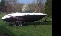 2009 Yamaha 212 SS. Twin highoutput jet engines with total hp of 320. less than 40 hours on boat. Cobra fins to aid in low speed handling. Plenty of storage areas. Runs great & looks great too. Has bimini top, bow and cockpit covers, & factory trailer