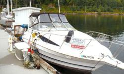 Bayliners very capable & spacious 2855 Ciera Sunbridge cruiser, with plenty of room for the family. This boat is a great package with a King triple axle trailer, an 8' Zodiac w/Daihatsu 2.5 outboard. She has a very nice fit extended walk-thru transom,