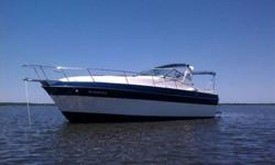 Here is an excellent opportunity to get into a full cabin boat within a limited budget. The 1987 Cruisers Vee Sport offers a wide body beam at 10 feet, sleeping for 6 people, full galley, and camper canvas. This boat is excellent for big water boating and