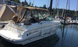 A rare gem! This beautiful gently-used 274 Cabrio has all the luxury and comfort you expect from Larson. This model comes in with a Camper Package,Custom zip in canvas curtains, Bow Sunpad w/Stainless Steel Rails, Cockpit Refrigerator, Flat Screen TV