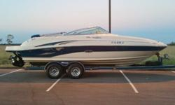 04 Sea Ray 220 Sundeck w/Mag.350 (300hp) 50+mph,Bravo3 Merc.w/polished props. This boat is in excellent condition and has only been in FRESH WATER and stored in dry storage so it will be one of the cleanest boats you will find. Motor and outdrive run and
