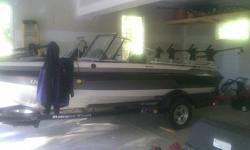 Clean Very Low Hours. 175 Evinrude Etec, rigged with removable down riiger bar & (4) manual down riggers. Minn Kota trolling motor + 3-bank charger. Electronic front & GPs in driver console. Ski Pole , ladder for in water fun.