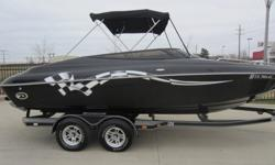"""05 22'5"""" OPENBOW,SOLID BLACK WITH RACING FLAG DECAL,5.7 LITER 280HP VOLVO PENTA,BIMINI TOP,CD STEREO,DOCKING LIGHTS,LOW PROFILE TINTED WINDSHIELD,CAPTAINS CALL EXHAUST,FLIP UP BOLSTER SEATS,CUSTOM COVER,LOW HOURS 105,TANDEM AXLE TRAILER WITH BRAKES.FOR"""