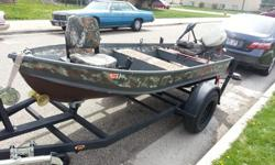 """I have a 12"""" Aluminum Montgomery ward sea King fishing boat for sale or trade. It has a 9.5 Johnson short shaft 2 stroke motor, 40lb thrust MinnKota 12v electric trolling motor with telescoping handle and marine battery. I have re-upholstered all three"""