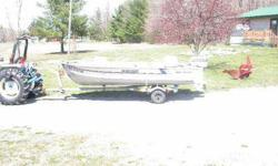 Boat, trailor, two swivel seats, battery, Hummingbird fish & depth finder, running lights and baiting light on gunnel, anchor, spare tire, water muffs for operating motor on dry land, new gas tank and fuelline, 2million candle floodlight for navigating at