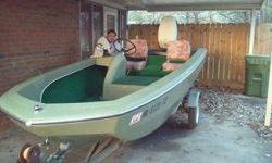 1968 Glastron Fish N Ski Boat with trailer. Boat has new wiring, lower motor seals replaced, original Johnson 40 horsepower motor, two seats, garage kept, plenty of room and storage, brand new tires on trailer. 16ft with live well. This is a nice classic