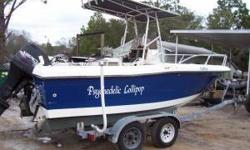 1988 21' HYDRA SPORT. PROJECT FISHING BOAT BOAT HAS NO MOTOR AND NO CONTROLS RIGGED WITH HYDRAULIC STEERING, HYDRAULIC HELM, HYDRAULIC TRIM TABS. SWIM PLATFORM , KICKER MOTOR BRACKET AND T-TOP GALVINIZED TANDUM AXLE TRAILER (trailer has recently been