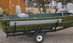 This boat has plenty of room it is set up for crappie fishing, it has a 10 pole rod holder adapter on front,Minn Kota Edge 55 lbs thrust trolling Motor,Garman 160 Fish finder,Fisherman 25 Rear mounted electric anchor. It also has a 6 hp johnson motor