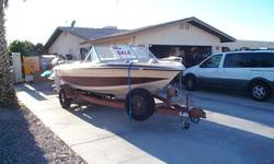 86 GALAXIE 19 1/2' RUNABOUT, I/ CHEVY SB/COBRA OUTDRIVE WITH TRAILER, NOT IN THE WATER IN OVER 2 YEARS NEEDS TLC. GOOD BATTERIES, ENGINE RUNS BUT NEEDS CARB FLOAT LEVEL SET, LOTS OF EXTRAS, WILL TRADE FOR SMALLER THINGS SUCH AS FIREARMS OF EQUAL